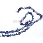 Нитка бусин из синего лазурита овальные со вставками