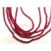 Нитка бусин из шпинели рубинового цвета 3 мм