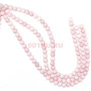Бусниы на нитке 8 мм из светло-розового сахарного кварца