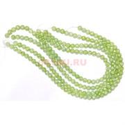 Нитка бусин 12 мм светло-зеленого сахарного кварца