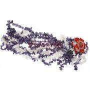 Бусы из аметиста с цветком из сердолика