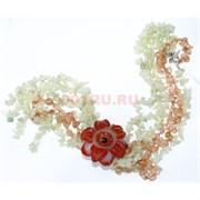 Бусы из цитрина и амазонита с цветком из сердолика