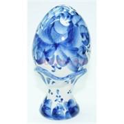 Яйцо на подставке гжель 11 см из керамики