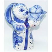 Чайник с кроликом гжель 21 см из керамики
