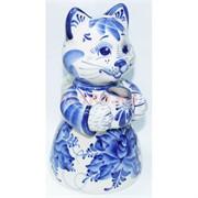 Чайник с кошкой гжель 22 см из керамики