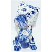 Фигурка кошка гжель 14 см из керамики