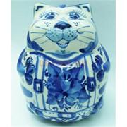 Фигурка толстый кот гжель 12 см из керамики