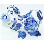 Фигурка корова гжель 12 см из керамики