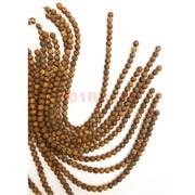 Бусины коричневые 3 глаза 8 мм цена за нитку из 48 бусин