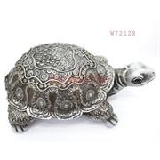Фигурка черепаха (W72128) полистоун серебро 22 см