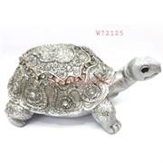 Фигурка черепаха (W72125) полистоун серебро 14 см