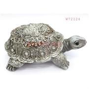 Фигурка черепаха (W72124) полистоун серебро 11 см