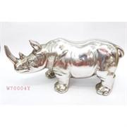 Статуэтка носорог (W70004Y) полистоун серебро