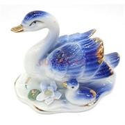 Статуэтка лебедь (FF1502E) голубая фарфоровая