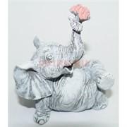 Слон 10 см с букетом из мраморной крошки ручная работа