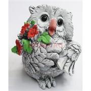 Сова с букетом цветов из мраморной крошки