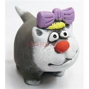 Фигурка кошки с фиолетовым бантиком из мраморной крошки