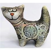 Фигурка кота с узорами из шамота