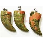 Клык подвеска из зеленой яшмы большой 4,5 см