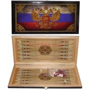 Нарды деревянные 40 см Герб РФ и триколор