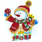 Картинка Снеговик 33 см новогодняя на подставке 10 шт/уп