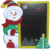 Картинка Снеговик с доской (KT95-2) новогодняя на подставке 10 шт/уп