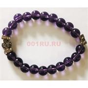 Браслет кварц фиолетовый 8 мм с крестом