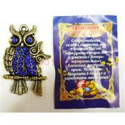Кошельковая сова с совенком металлическая с синими стразами