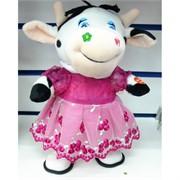 Музыкальная мягкая игрушка Корова в розовом платье Символ 2021 года