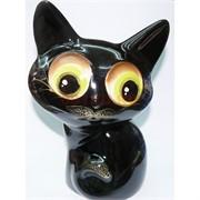 Копилка из керамики черный кот с усами