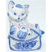 Фигурка Кошка с сумочкой под гжель