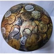 Музыкальный инструмент глюкофон с рисунком монет диаметр 23 см