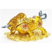 Бык металлический со стразами Шкатулка под золото Символ 2021 года