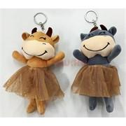 Мягкая игрушка брелок (M-965) Корова в платье