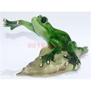 Фигурка лягушки на листочке (KL-657) из полистоуна