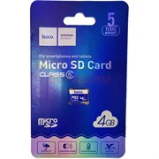 Карта памяти microSD 4 Gb Hoco класс 6