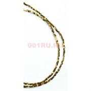 Нитка бусин гематит 2 мм под золото 190 шт в виде квадарата 40 см