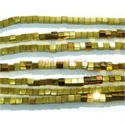 Нитка бусин гематит 4 мм под золото 112 шт в виде квадрата 40 см