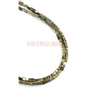 Нитка бусин гематит 6 мм под золото 112 шт в виде квадрата 40 см