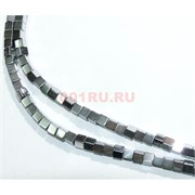 Нитка бусин гематит 3 мм под серебро 112 шт в виде квадрата  40 см