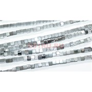 Нитка бусин гематит 6 мм под серебро в виде квадрата 40 см