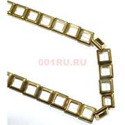 Нитка бусин гематит 14 мм в виде квадрата под золото 30 шт длина 40 см