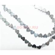 Нитка бусин гематит 10 мм в виде сердца под серебро длина 40 см