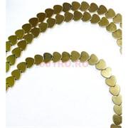 Нитка бусин гематит 6 мм в виде сердца под золото 81 шт длина 40 см