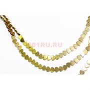 Нитка бусин гематит 10 мм в виде сердца под золото длина 40 см