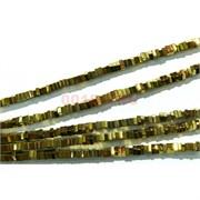 Нитка бусин гематит 190 шт под золото 4 мм в виде кубиков 40 см