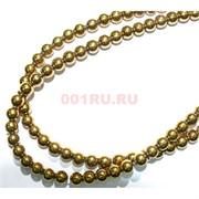 Нитка бусин гематит 12 мм круглый под золото длина 40 см
