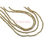 Нитка бусин гематит 2 мм под золото граненый длина 40 см