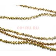 Нитка бусин гематит 4 мм под золото граненый длина 40 см