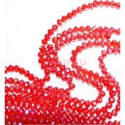 Нитка бусин из красного прозрачного стекла хрусталь 6 мм длина 40 см